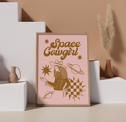 Space Cowgirl Print Golden Brown
