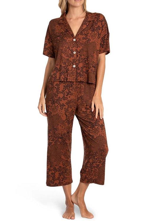 MIDNIGHT BAKERY   Margot Crop Pant & Pj Set Rust Animal Print