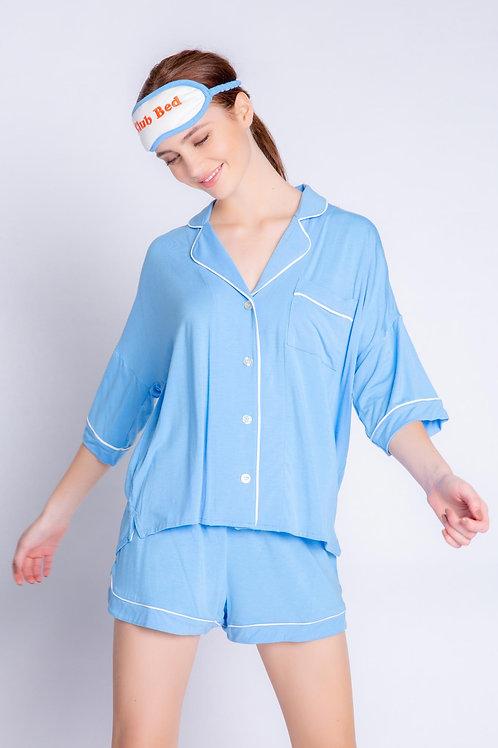 PJ SALVAGE | Tropical Modal Pajama Set & Eye Mask in Blue!