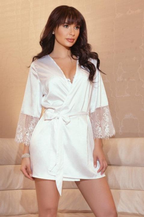 COQUETTE | Satin & Lace Robe O/S