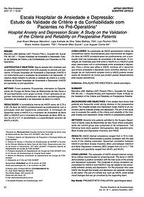 Escala Hospitalar de Ansiedade e Depress