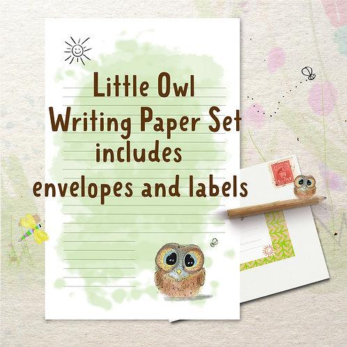Little Owl Writing Stationery Set includes envelopes & labels
