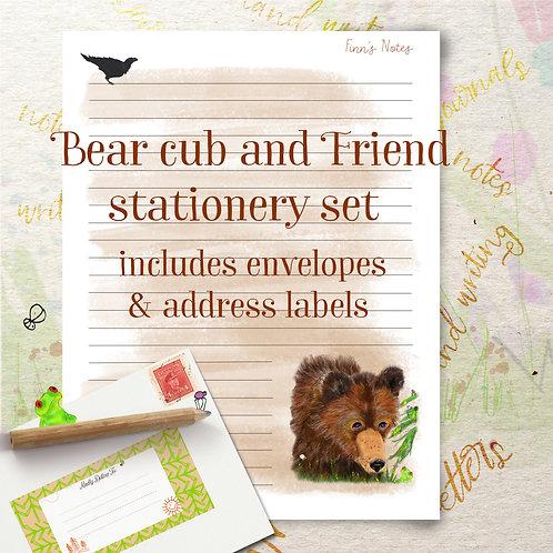 Bear Cub Meets a Friend Stationery set includes envelopes & labels