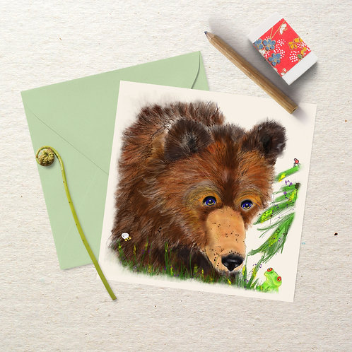Little Bear Meets Froggie - Square Greeting Card