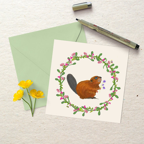 Beaver in Wreath-Square Card