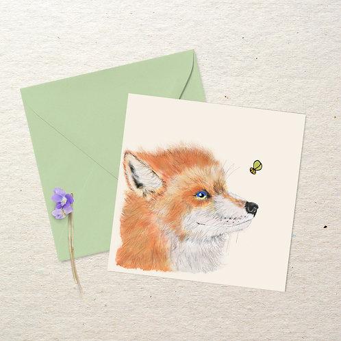 Little Fox and a Bee Square Card - Mini Art Print