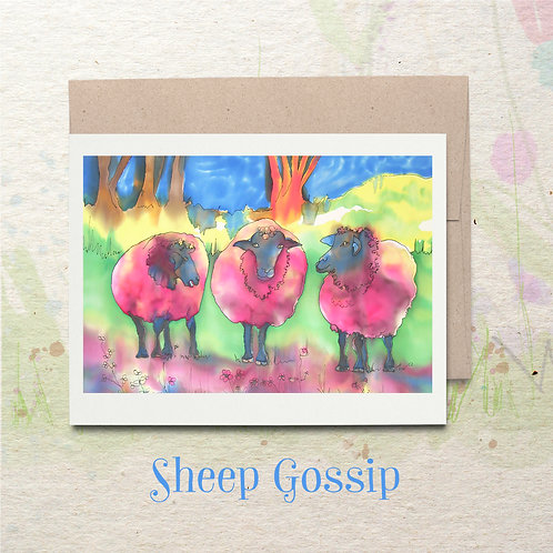 Sheep Gossip - invitation art card