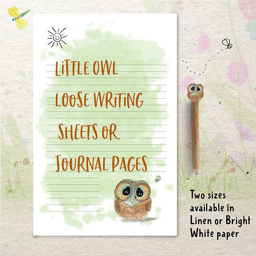Little Owl Loose Writing Sheets or Journal pages