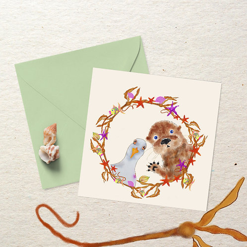 Otter and Seagull - Square Card