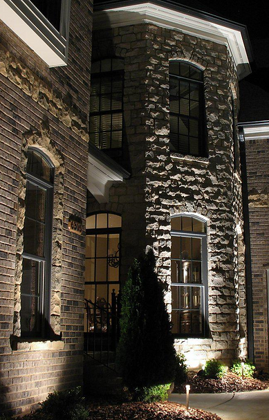 Landscape lighting, bullet lights, path lights, architectural features lighting, brick, stone