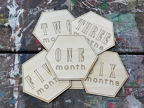 Baby Month Milestone Markers - Hexagon