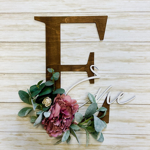 Floral Initial and Name Wall Hanging