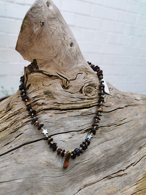 Amber, Tiger Eye and Hematite Necklace