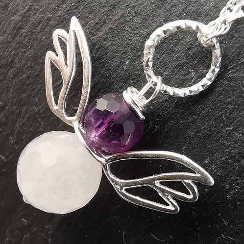 11 The Angel of Compassion, Rose Quartz with Amethyst Angel Pendant