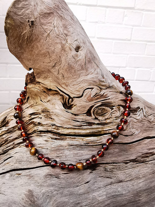 Dark Amber with Tiger Eye Necklace