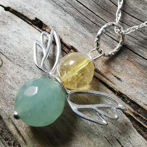 The Angel of Abundance - Green Aventurine and Citrine Angel Pendant