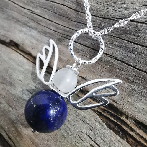 The Angel of Moontime - Lapis Lazuli with Moonstone Angel Pendant