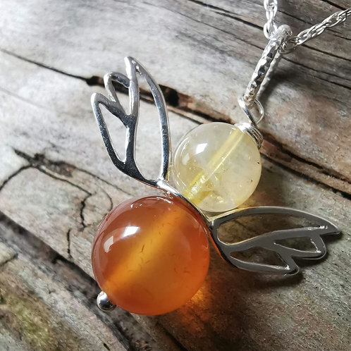 The Angel of Encouragement  - Carnelian with Citrine Angel Pendant