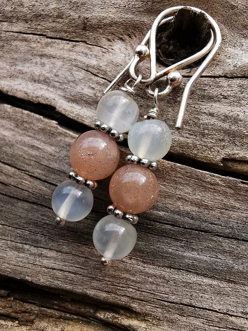 Sunstone and Moonstone Earrings