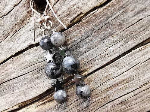 Larvikite & Hematite Earrings