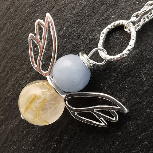 The Angel of Connection - Angel Hair Quartz with Angelite Angel Pendant