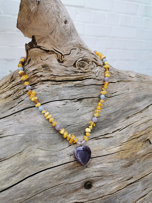 Amber, Amethyst, Angelite, Lilac Jade and Flourite Necklace