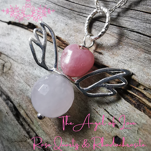 The Angel of Love, Rose Quartz with Rhodochrosite  Angel Pendant