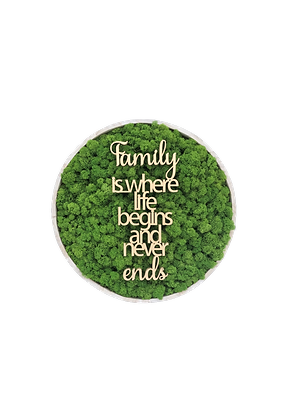 """Islandmoosbild """"Family"""" Ø40 Grasgrün"""