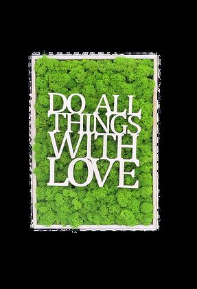 """Islandmoosbild """"Do all things"""" 35x25x5,5 Maigrün"""