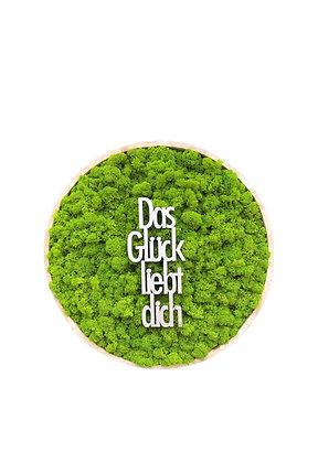 """Islandmoosbild """"Das Glück liebt Dich"""" Ø40 Maigrün"""