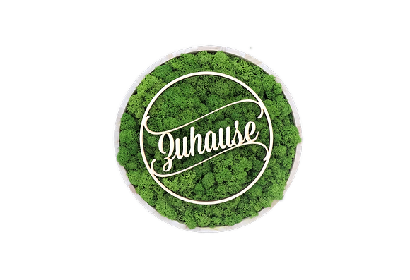 "Islandmoosbild ""Zuhause"" Ø30 Grasgrün"