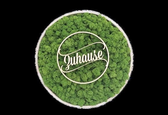 "Islandmoosbild ""Zuhause"" Ø40 Grasgrün"