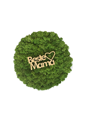 "Islandmoosbild ""Beste Mama"" Ø30 rahmenlos Grasgrün"