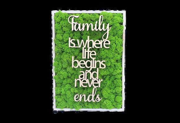 """Islandmoosbild """"Family""""  35x25x5,5 Maigrün"""