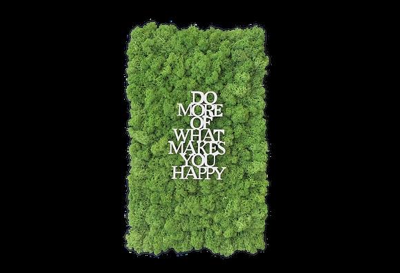 "Islandmoosbild ""Do more of what makes you happy"" 50x30 Grasgrün"