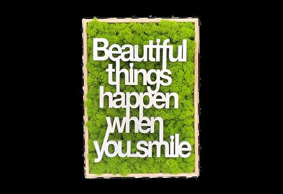 "Islandmoosbild ""Beautiful things"" 35x25x5,5"