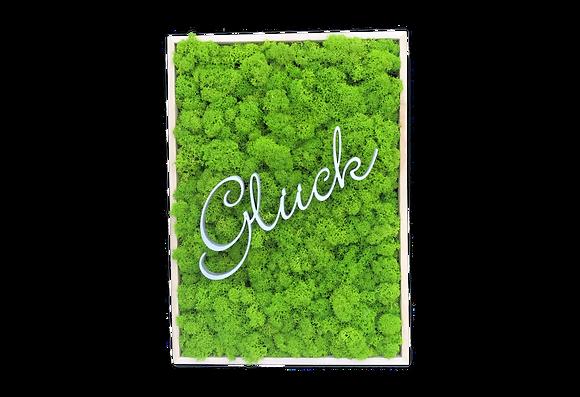 """Islandmoosbild """"Glück"""" 35x25x5,5 Maigrün"""