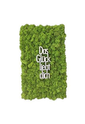 """Islandmoosbild """"Das Glück liebt Dich"""" 50x30 Grasgrün"""