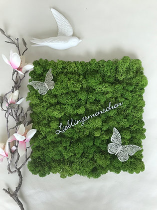 "Islandmoosbild ""Lieblingsmenschen"" 30x30 Grasgrün"