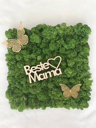 "Islandmoosbild ""Beste Mama"" 30x30 Grasgrün"