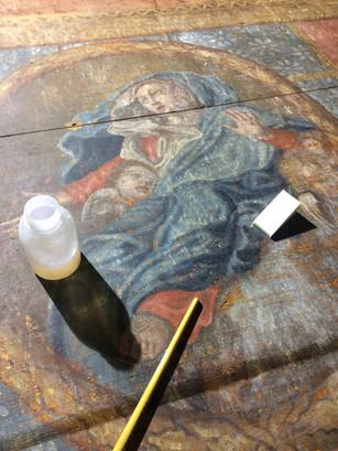 Restauration de l'antependium du retable de la chapelle saint Roch, à Jarrier (Savoie)