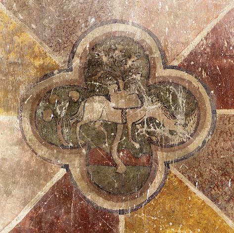 Constat d'état, diagnostic du décor peint de l'aula  du Châtel de Theys, XIV s., Isère