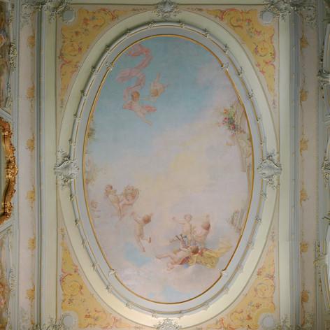 Mise au jour des décors peints, entretien et restauration de l'ensemble des peintures murales et toiles marouflées peintes par l'atelier Louis Bardey, maître Lyonnais, 1911