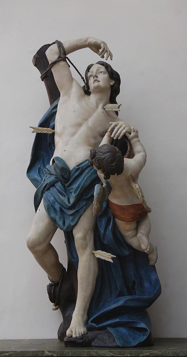 Restauration d'une sculpture, Saint Sébastien