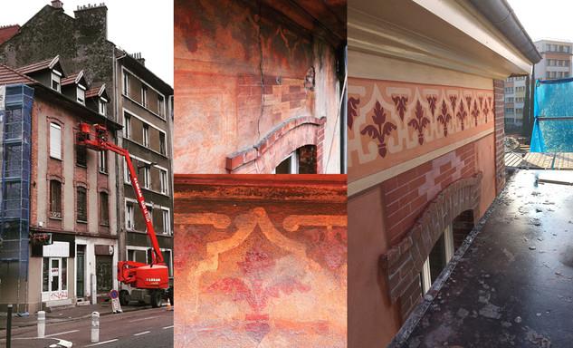Restitution du décor peint d'une ancienne briqueterie Grenobloise, de la fin du XIXe s.