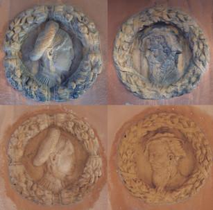 Nettoyage de deux médaillons sculptés en grès