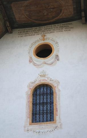 Mise au jour et restauration du décor peint du XVIIIe siècle de la façade de l'église