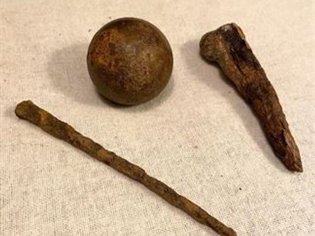 """Civil War Iron Cannon Ball 2"""" with long square nail and iron stake"""