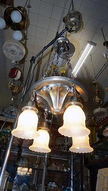 4 Light Brass Chandelier Ca 1910s