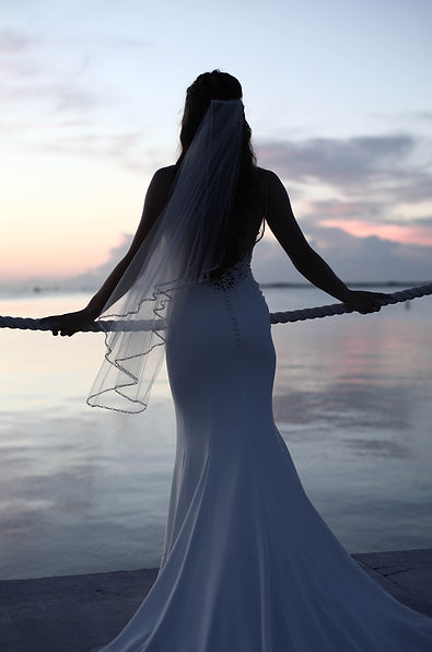 Bride looking over the waters of Key Largo